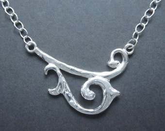 """Sterling Silver necklace """"Breezy"""" swirls small 1 pc necklace made in USA"""
