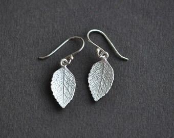 Leaf Earrings - Leaf Drop Earrings - Sterling Silver Leaf Earrings - Nature Jewelry - Fall Leaf Earrings - Gift For Women - Nature Jewelry