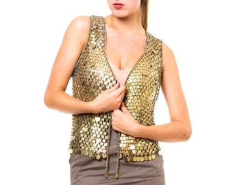 1930s Vintage Metallic Gold Mesh Vest  Size: S/M/L
