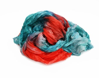 coral silk scarf - Foх forest dance -  light teal, coral silk scarf.