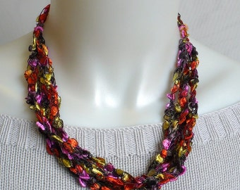 Colorful Ladder Yarn Necklace - Multicolor Ribbon Necklace, Handmade Fiber Necklace, Crochet Choker, Lariat Necklace, Ready to Ship