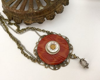 Brick Red Necklace , Mother of Pearl Antique Button Necklace , Statement Necklace , Button Jewelry by VintageRedo