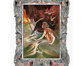 Little Mermaid Fabric Block - Hans Christian Andersen Fairy Tale - Charles Robinson