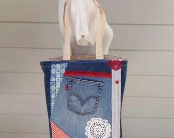 Canvas Market Bag with Crazy Denim Patchwork, Tote Bag