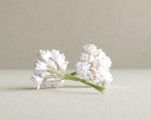 10mm White Gypsophila - 20pcs - mulberry paper flowers with wire stems - Great for bridal corsage and boutonnieres [152]