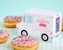 Donut Food Truck, Donut Party Favor, Food Truck, Cupcake Box, Sweet Shoppe Party Bakery Box, Dessert Table m, Centerpiece, Doughnut Birthday