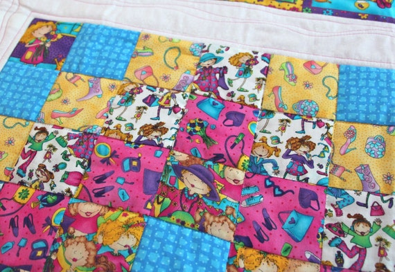Multi Colored Girls Baby Quilt Travel Blanket Play Mat