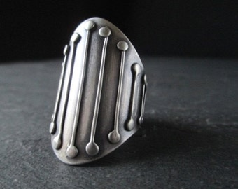 Gothic Shield Ring , Sterling Saddle Ring , Wide Silver Band , Medieval Armor Ring , Made to Order
