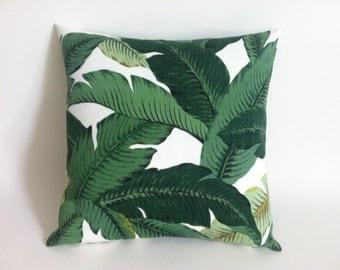 Outdoor Dark Green Tropical Jungle Zipper Pillow Cover Leaves Pillow Dark Green Banana leaf 20x20 12x18 Lumbar Martinique Decor-6FL5