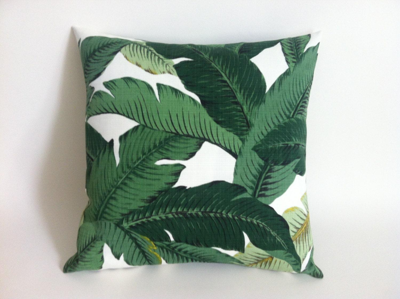 Outdoor Dark Green Tropical Jungle Zipper Pillow Cover Leaves