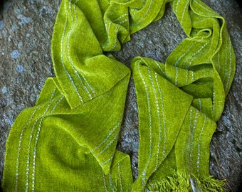 Chenille Lunar Moth Handwoven Scarf in Lemon Grass, Available in Long & X-Long Lengths