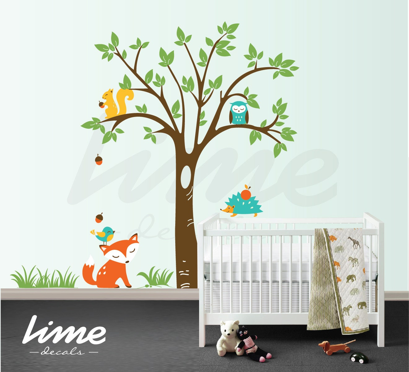 nursery wall decal animal decal nursery decal woodland. Black Bedroom Furniture Sets. Home Design Ideas
