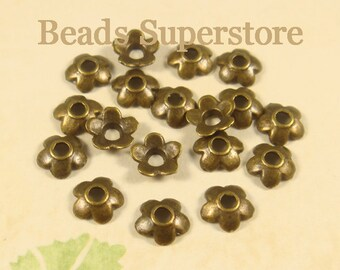 SALE 6.5 mm x 2 mm Antique Bronze Flower Bead Cap - Nickel Free, Lead Free and Cadmium Free - 50 pcs