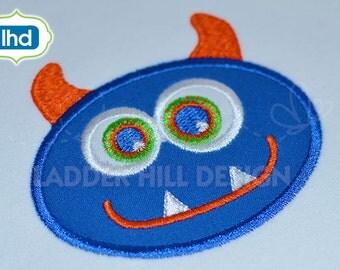 Monster Applique -- Monster Patch Applique  Machine Embroidery Design -- No. KN002