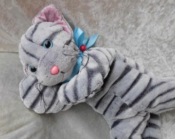 Gray TABBY Cat plush, stuffed Cat gray, tiger cat soft toy, handmade tabby kitten, floppy tabby cat, stuffed animal cat gray, MADE to ORDER
