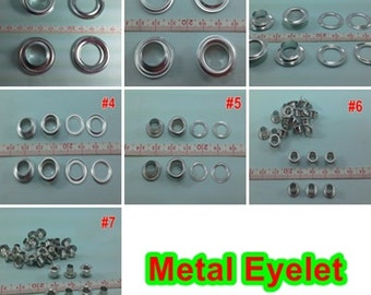 7- 35 mm.  Silver Tone Aluminum Eyelets Grommet different size craft scrapbooking  DIY