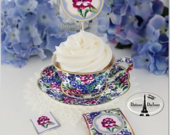 1/2 OFF COUPON, Paper Tea Cups, Cupcake Wrappers, Teacups, Favor Holders, Cupcake Wraps, PTC- 001, Cupcake Holders, Pansy Cupcakes