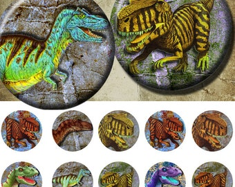Dinosaur - Bottle Cap Images 4x6 Digital Collage INSTANT DOWNLOAD