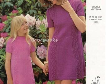 Womens Dress Knitting Pattern 1960s Ladies Dress Knitting Pattern Girls Dress Round Neck Cable Panel Dress 25-39inch DK PDF Instant Download