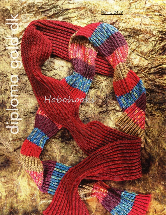 ribbed scarf knitting pattern DK long striped scarf knitting