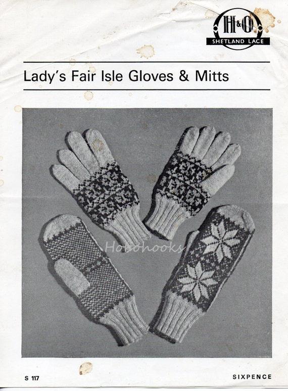 Womens Gloves Knitting Pattern Womens Fair Isle Gloves Womens