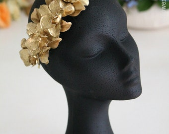 Bridal orchid headpiece. Gold headpiece. Wedding floral headpiece. Golden headband bridal. Wedding goldenheadband. Floral bridal headpiece MOD537