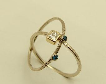 Diamond Wedding Set, Diamond Set Ring, Princess Diamond Engagement Ring  With Blue Diamonds Ring - 14k Solid Gold - Square Diamond Ring