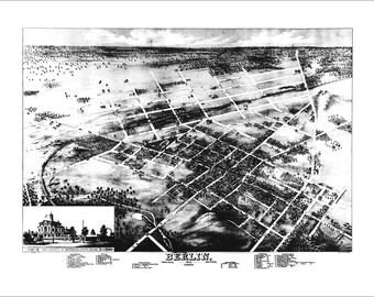"Kitchener Ontario in 1875 Panoramic Bird's Eye View Map by Herman Brosius 22x17"" Reproduction"