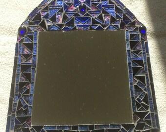 Oriental style blue and purple mosaic mirror