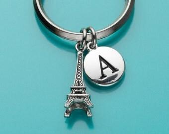 Eiffel Tower Keychain, Eiffel Tower Key Ring, Initial Keychain, Personalized Keychain, Custom Keychain, Charm Keychain, 118