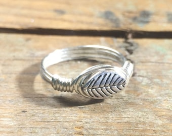 size 8 - silver metal Leaf wire wrapped ring - women men girl boy unisex  jewelry - nature - simple - my soul can dance woodland