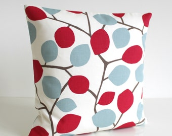 Red and Blue pillow cover, pillow cover, pillow sham, pillow case, cushion cover, slip cover, accent pillow, pillowcase - Nordic Leaves Red
