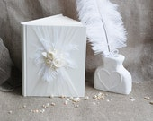 Elegant white Wedding guest book Wedding guest book set  Ivory guest book White pen holder White feather pen Ivory roses