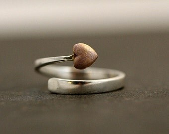 Sterling wrap heart ring. Bicolor, sterling ring with rose gold colored sterling heart. Adjustable. Valentines.