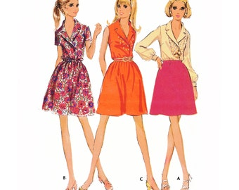 """1969 Vintage Pull-over Mini Dress has 3-section Bodice, Gathered Skirt, Sleeveless, Long or Short Sleeves, McCall's 9787, Bust 34"""", Uncut"""