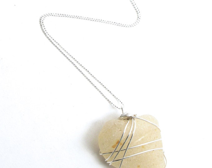 """Rhode Island White Shark Tooth Like Sea Glass Wire Wrapped with Sterling Silver on a Sterling Silver Diamond Cut Bead Chain Necklace 16""""-24"""""""