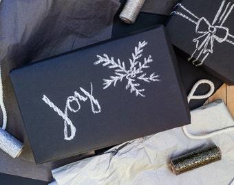 Chalkboard Paper Roll 15 ft | Chalkboard Gift Wrap | Black Kraft Paper | Christmas Gift Wrap Paper Roll | Christmas Wrapping Paper |Trending