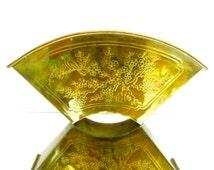 Vintage Brass Chinoiserie Planter Sconce    Hollywood Regency Oriental Fan Shaped Wall Mount Indoor Garden