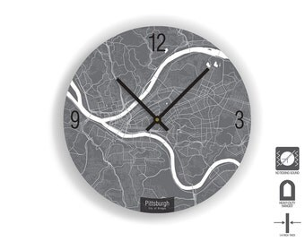 "PITTSBURGH MAP Art Wall Clock - Large Unique Contemporary Art Wall clock - 11"" and 16""  Diameter"
