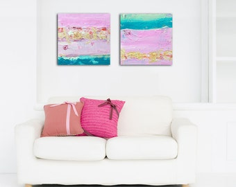 Abstract Painting Abstract Art Canvas Set Print, Abstract Canvas Wall Art Small, Abstract Art Set Pink Gold Teal Painting