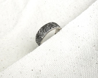 Old Spanish Lace Band Ring Size 7 Fine Silver - Ready to Ship