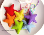 Rainbow Stars Felt Decoration. Stars Garland. Room Home Decoration. Banner. Christmas Ornaments. Wall Hanger.