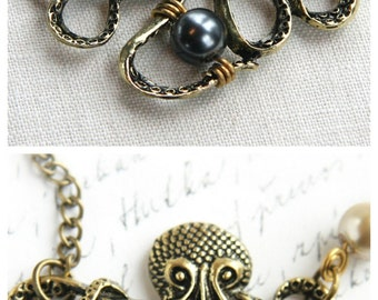 My Bubbles Large Bronze Octopus Pendant Long Single Stand Antique Brass Chain Necklace Captain Nemo Vintage Steampunk jewelry trend 2017