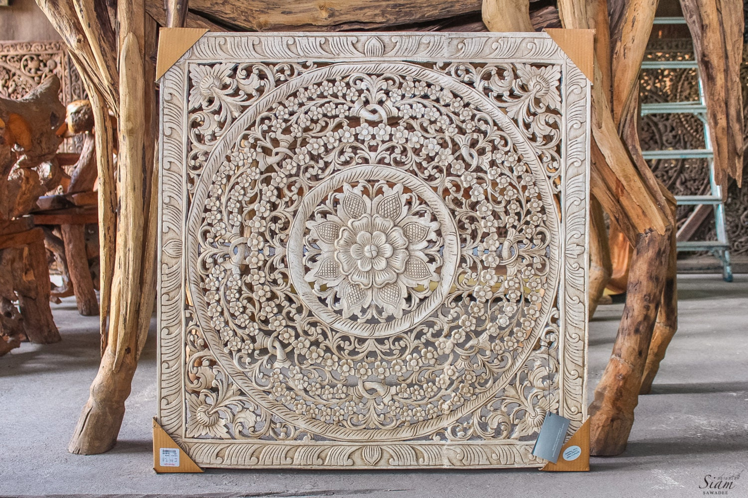 Large bali or thai carved wood wall art panel by siamsawadee - Wooden panel art ...