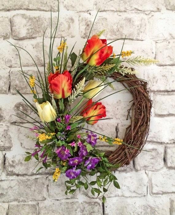 Flowers For Front Door: Spring Tulip Wreath Spring Wreath Front Door Wreath Silk