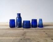 SET of 5 antique medicine bottles in cobalt blue — INSTANT COLLECTION - Pharmacy, chemist, druggist, medical, blues, oddity, curiosity