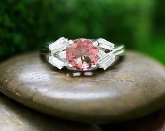Pink Tourmaline and Diamond Engagement <Prong> Solid 14K White Gold (14KW) Colored Stone Wedding Ring *Fine Jewelry* (Free Shipping)