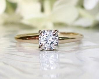 Vintage Engagement Ring 0.25ct Illusion Set Diamond Wedding Ring 14K Two Tone Gold Ring Vintage Bridal Jewelry Size 7