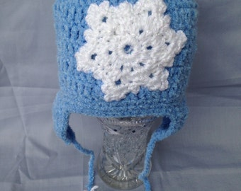 Snowflake Hat, Crochet Blue Snowflake Hat, Blue Beanie, Crochet Beanie, Blue Baby Hat, Toddler Hats, Baby Shower Gifts ,Kids Winter Hats,