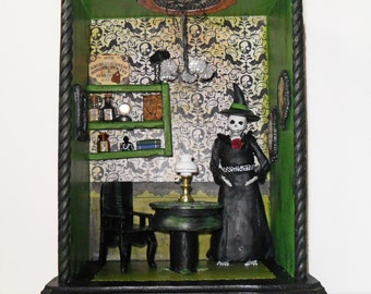 Witch Skeleton Shadow Box Diorama - Mixed Media Art Assemblage - Halloween Room Box - Gothic Shadow Box Art
